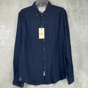 Report Collection Indigo Navy Solid Slim Fit Flann